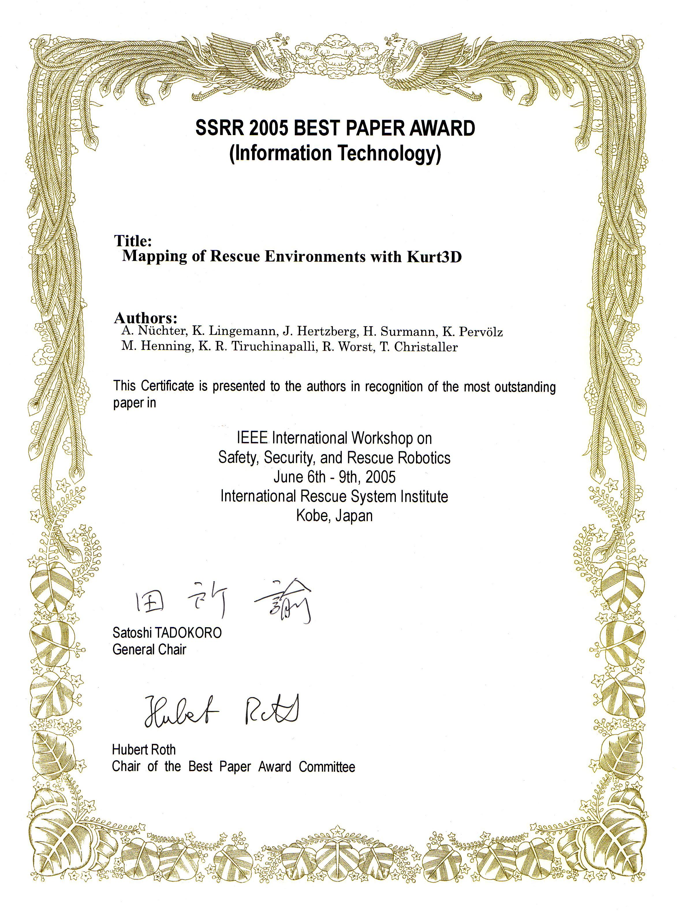 award paper